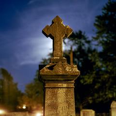 (Patrick J. McCormack) Tags: hasselblad 500cm kodak portra film 120 6x6 analog night glow cemetery grave graveyard moon
