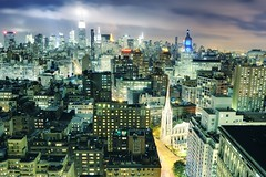 Midtown Manhattan and NoHo at Night, New York City (andrew c mace) Tags: above newyorkcity longexposure roof newyork rooftop skyline night cityscape noho manhattan broadway empirestatebuilding chryslerbuilding unionsquare citigroupcenter wunionsquare colorefex nikoncapturenx nikond90 1madisonpark