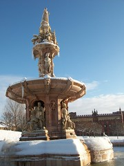 Glasgow Green: The Doulton Fountain (stuartpaterson) Tags: glasgowwintersnow glasgow scotland uk gb unitedkingdom greatbritain sottish british glaswegian riverclyde river clyde mural tiger reflection snow wintery snowy bridge ice icy season glasgowgreen glasgowcathedral queenvictoria royal regal queen victoria prince albert princealbert stmungo city civic georgesquare thedukeofwellington cone trafficcone merchantcity sky peoplespalace wintergardens peoplespalaceandthewintergardens doultonfountain terracotta terracottafountain thealbertbridge art architecture design style statue