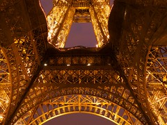 Golden Tower (DomiKetu) Tags: city longexposure travel light paris france tower night lumix photography lights europe long exposure tour nightshot eiffeltower eiffel panasonic le lumiere toureiffel nightshots nuit fz38 fz35