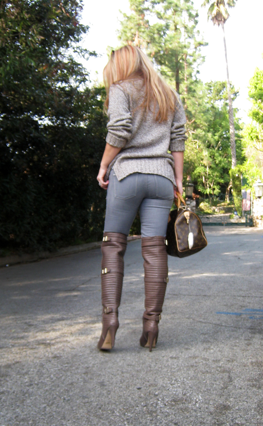 butt in jeans+over the knee boots+sweater+hair+louis vuitton bag