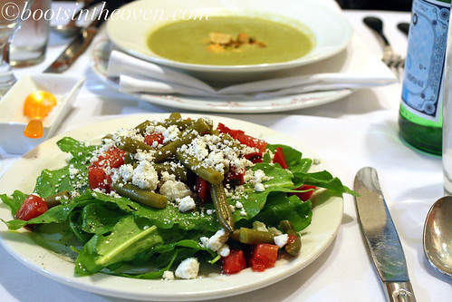 Salad: Sorrel, Pickled Green Bean, Tomato, Goat Feta Cheese; Soup: Creamy Leek with a Ragout of Celery and Chicken of the Woods Mushrooms