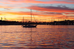 Marina Del Rey boat and dazzling sunset