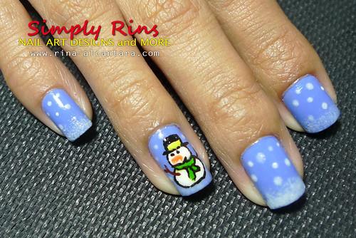 Christmas Nail Art Snowman 03