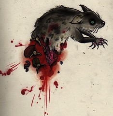 rat (CLB) Tags: christmas cats tattoo fur dead blood rat drawing flash ripped presents half torn claws guts clb
