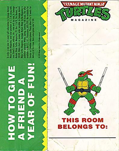 """Teenage Mutant Ninja Turtles"" Magazine - 'GIVE A FRIEND A YEAR OF FUN!' - door hanger i (( 1992 ))"