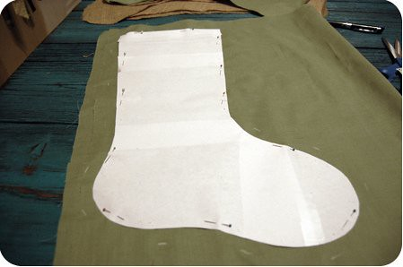 {craft}ernoon: burlap stocking - step 6
