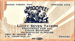 Past Chicago Tavern business card. (Cragin Spring) Tags: old city party urban chicago bar vintage illinois midwest drinking business seven lucky tavern beverages businesscard armitage woodst proprieter herveyst
