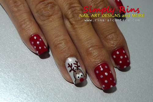 Christmas Nail Art Santa and Rudolph 02