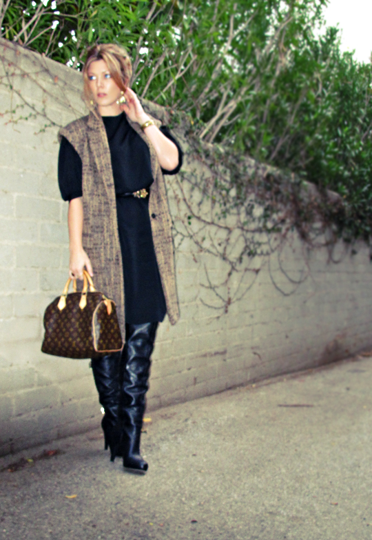 sleeveless coat with over the knee boots and vintage black dress+gold accessories