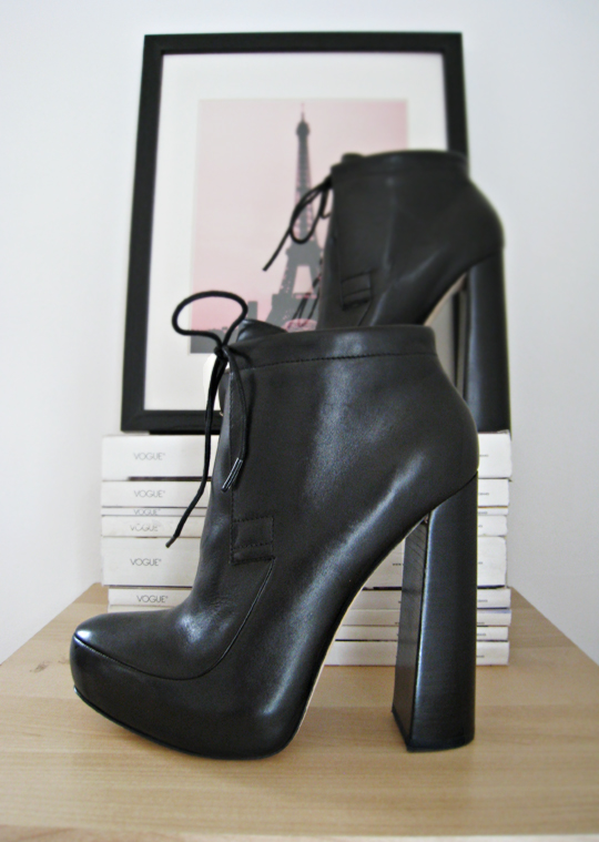 alexander want ankle boots with ties+vogue magazines+Eiffel Tower print