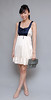HERVELVETVASE Tie-Me-Up Frock in cream&navy $27 PTP 13.5-16.5 Length 32