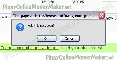 Add new blog prompt - How to setup Nuffnang ads - PinayOnlineMoneyMaker.net