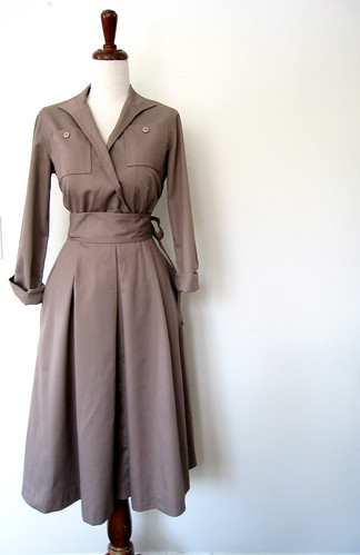 Cotton Taupe Wrap Bodice Dress, Vintage 70's