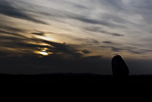 Sunset Stone at Avebury - Copyright R.Weal 2010