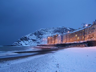 Snow on Aberystwyth Beach