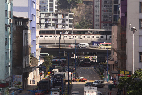 Train stopped at the elevated Ngau Tau Kok station