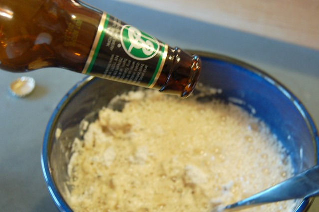 Adding the beer to the batter by Eve Fox, Garden of Eating blog, copyright 2010