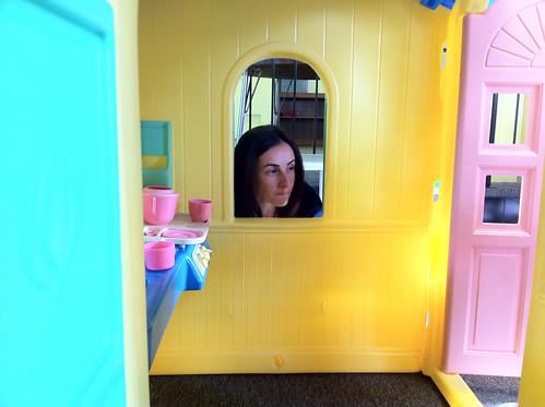 Marga looks through the window