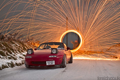 . (Paul Fenrich) Tags: light snow ice wool smile up car night dark painting paul fire lights wire long exposure paint spin low 28mm country wheels wide sigma pop hedge lane grin 28 365 mazda sparks miata cardigan mx5 roadster eunos aberporth fenrich