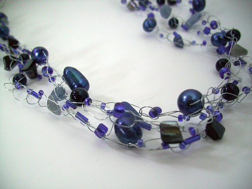 "Crochet ""Blues"" Becklace w/Silver Wire & Clasp"
