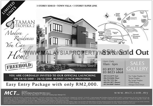 Taman Tropika 2 Kajang freehold semi-d, villa and super link houses for sale