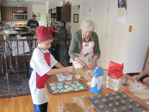December 2010: Jonathon decorates the sugar cookies.