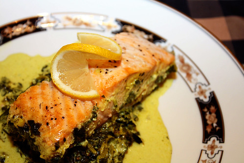Roasted Salmon with Creamy Curried Spinach Plated