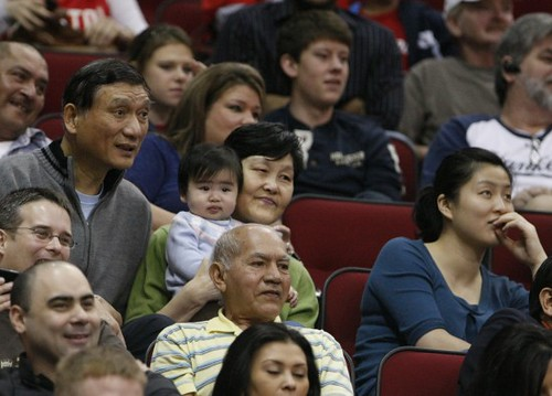 December 31st, 2010 - Yao Ming's family, including baby Amy, attended the Rockets-Raptors game on New Year's Eve