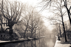 Oude Gracht, Misty Utrecht, Winter 2010 (lambertwm) Tags: trees winter mist holland reflection misty fog canal vinter haze bomen utrecht nebel hiver foggy nederland thenetherlands  arbres holanda invierno nebbia inverno  zima  paysbas niebla brouillard niederlande  oudegracht nevoeiro k   holandia  hollanda reflecties pasesbajos nederlnderna paesibassi  vinteren alankomaat       musumdingin