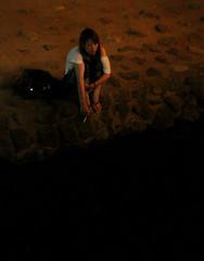 Mope (Aaron Webb) Tags: girl japan river kyoto cigarette smoking 京都 日本 先斗町 riverbank moping kamogawa pontocho japanesegirl 鴨川 四条大橋 japanday6 kamogawariver  shijoohashi