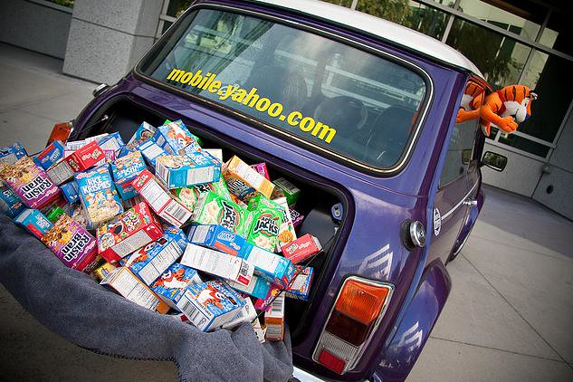 Mini Cereal in the trunk of a Mini