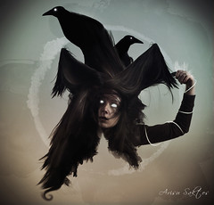 Witchcraft (Arisu Saktos) Tags: birds photoshop hair nikon witch photomontage nikond60 arisu arisusaktos witchcraftselfportrait alicjawolkowska