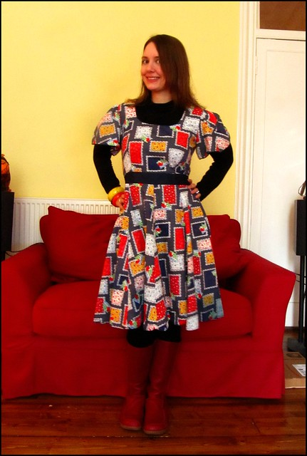 2.1.11; fashion, clothes, style, outfit, thrift, thrifted, blogger, blog, creative, colour, color, charity shop, quirky, individual, dress, 1950s, 1980s, 1970s, circle skirt, patchwork