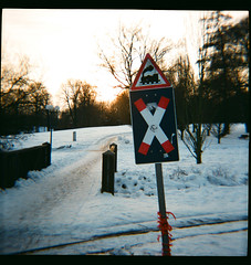 Second roll of Diana F+ film (FeeMail) Tags: schnee winter snow sign analog germany deutschland lomo lomography sonnenuntergang sundown schild analogue dianaf dortmund