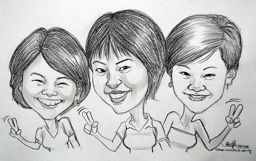 sisters caricature in pencil 06012011