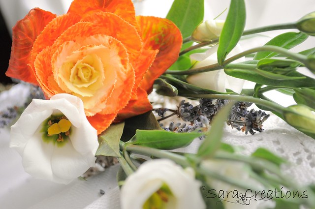 orange brassica oleracea, white eustoma & lavender