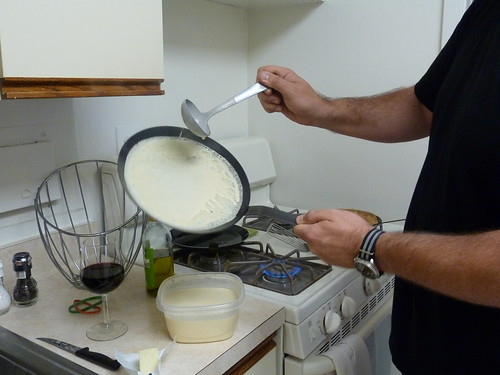 Pouring crepe batter