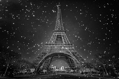 Day or Night /\ Snow or Not (Philippe Saire || Photography) Tags: bw paris france tower texture monument architecture canon eos tour sigma wideangle eiffel nb 1020mm iledefrance hdr gettyimages photomatix 450d philippesaire