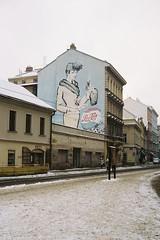 Old advertissement (Benisfree) Tags: street streetart film 35mm mural prague kodak praha czechrepublic pepsi portra yashica portranc advertissement yashica35gt yashicaelectro35gt