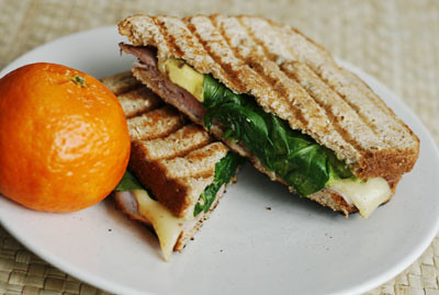 Ham, Swiss, Avocado and Spinach Panini