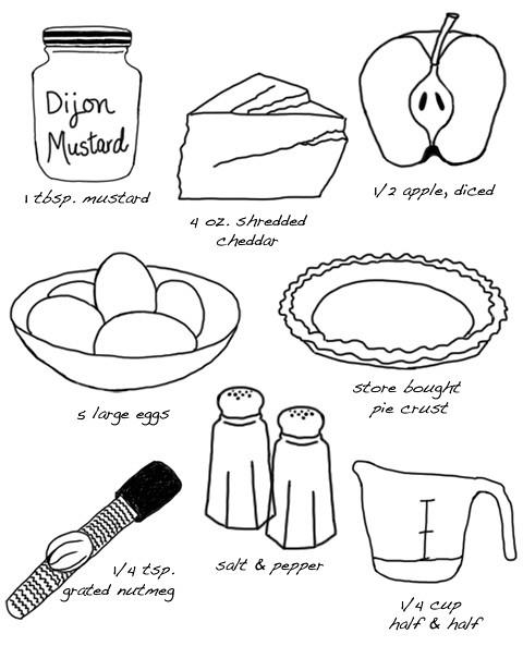 apple & cheddar quiche recipe illustration