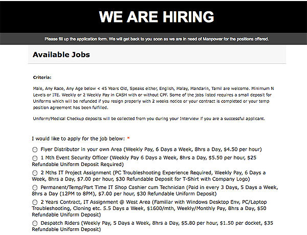 Screen grab of the cached file of a scam job site - http://jobs.sg-singapore.com/ (deleted)