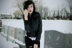 (i'm a witch) Tags: winter snow cold cemetery graveyard leather self explore lipstick tombstones jewel