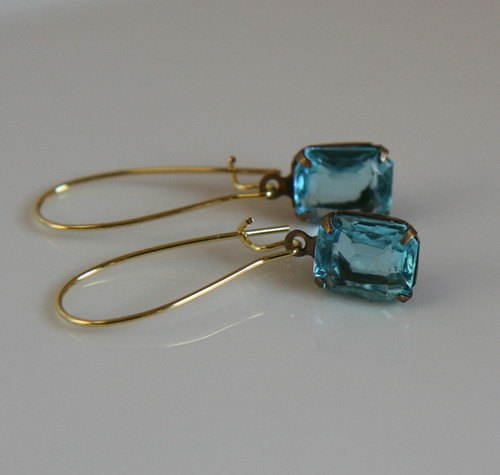 Earrings, Vintage Aqua Blue Octagon Glass Jewels, Raw Brass Kidney Earwires, Elegant and Classic