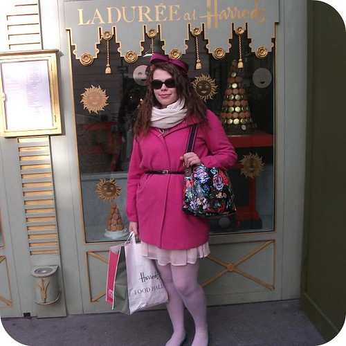 laduree harrods exterior birthday meal trip outfit floral accessorize satchel oversized bow headband