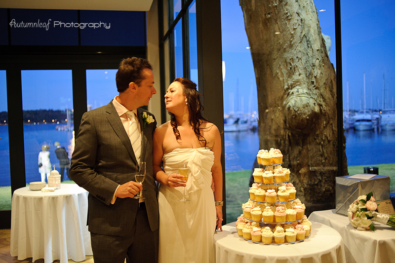 Julia & Sean's Wedding - By the wedding cake