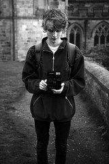 Black and White in Durham (ben_thedriver) Tags: black blackandwhite contrast canon portrait raw eos60d eos 60d naturallight natural 1835mm sigma 18 filmlook film filmic sharp grayscale durham dusk durhamcathedral cathedral sun sunset polaroid england quiet walking autumn summer night nightphotography late hour golden goldenhour vignette constant constantlight desaturated