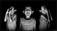 Govind Trio (kdinuraj) Tags: cactus portrait bw india composite kids portraits canon kid flickr expression experiment 2010 govind canon50mm18 niftyfifty 400d canon400d cactusv4 inhomeshot