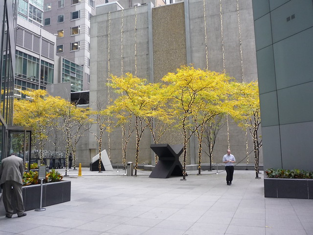 a modernist plaza in Midtown